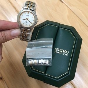 Seiko Sapphire Crystal silver & gold kinetic watch